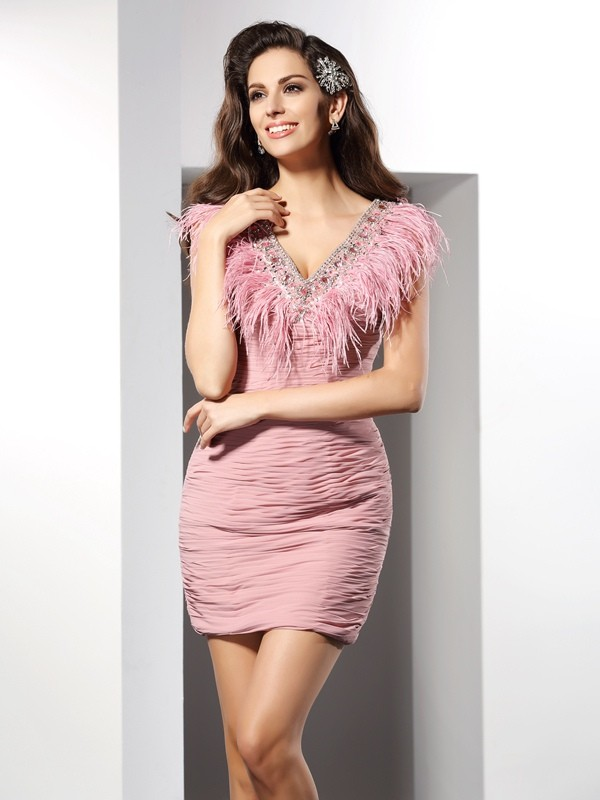 Sheath Chiffon V-neck Sleeveless Short/Mini With Feathers/Fur Dresses