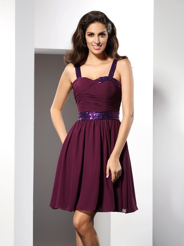 A-Line Chiffon Straps Sleeveless Short/Mini With Ruched Dresses