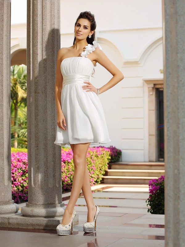 A-Line Chiffon One-Shoulder Sleeveless Short/Mini With Hand-Made Flower Dresses
