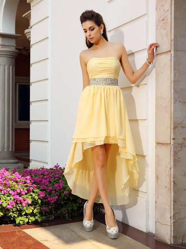 A-Line Chiffon Strapless Sleeveless Asymmetrical With Beading Dresses