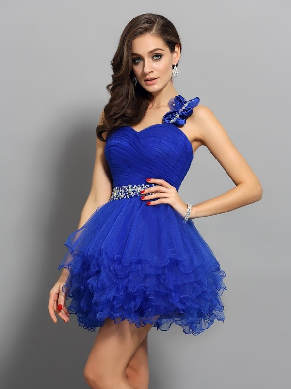 A-Line Organza One-Shoulder Sleeveless Short/Mini With Beading Dresses