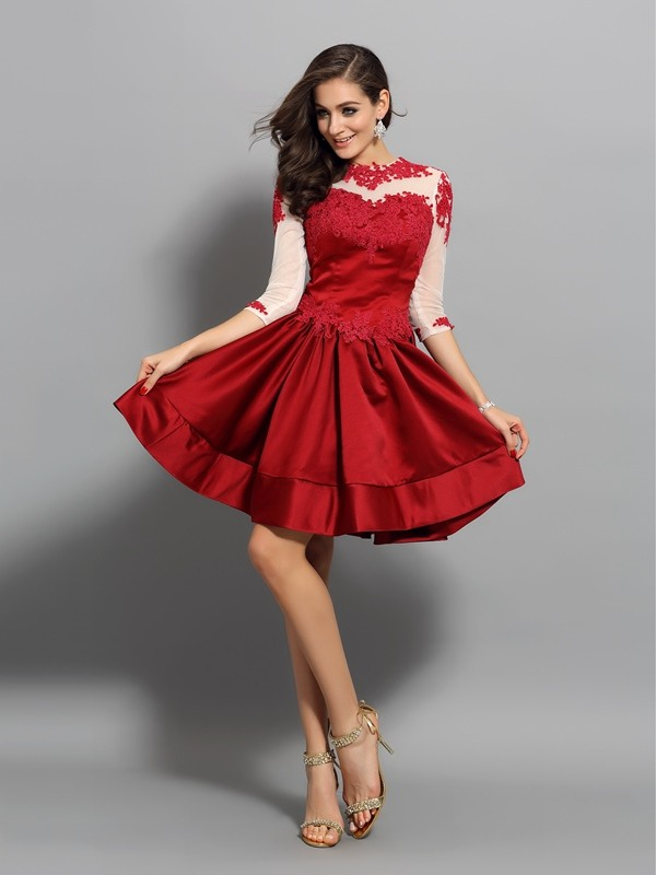 A-Line Satin High Neck 1/2 Sleeves Short/Mini With Applique Dresses