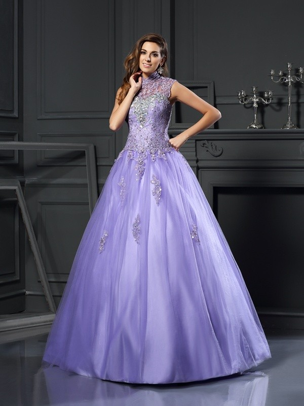 Ball Gown Net High Neck Sleeveless Floor-Length With Beading Quinceanera Dresses