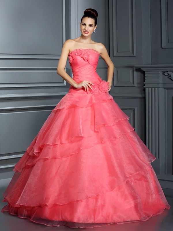 Ball Gown Organza Strapless Sleeveless Floor-Length With Hand-Made Flower Quinceanera Dresses
