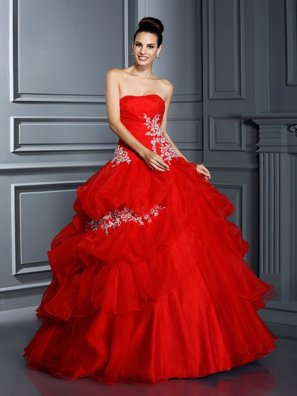 Ball Gown Organza Strapless Sleeveless Floor-Length With Applique Quinceanera Dresses