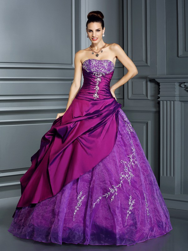 Ball Gown Taffeta Strapless Sleeveless Floor-Length With Applique Quinceanera Dresses