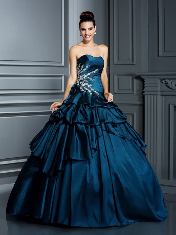 Ball Gown Taffeta Strapless Sleeveless Floor-Length With Beading Quinceanera Dresses