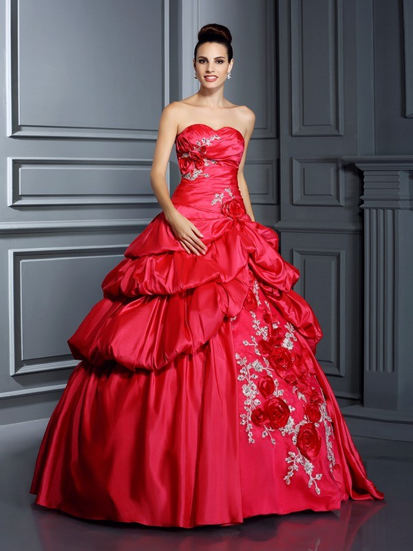 Ball Gown Taffeta Sweetheart Sleeveless Floor-Length With Hand-Made Flower Quinceanera Dresses