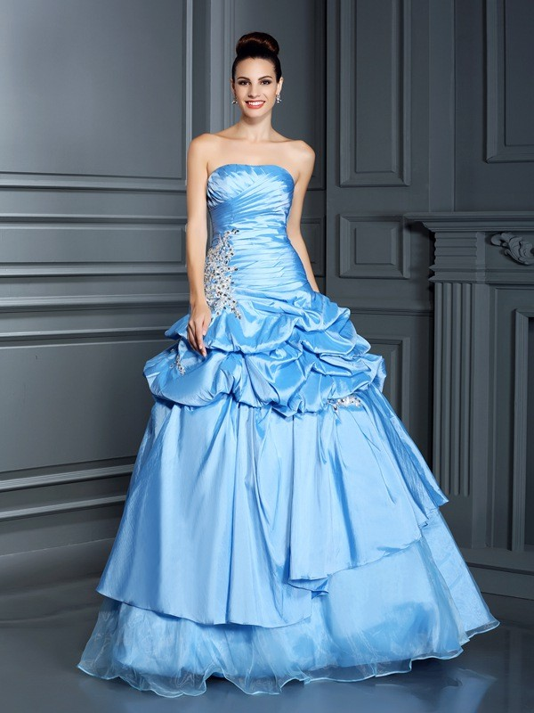 Ball Gown Organza Sweetheart Sleeveless Floor-Length With Ruffles Quinceanera Dresses