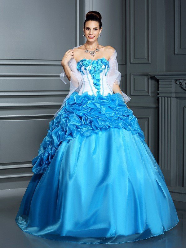 Ball Gown Satin Sweetheart Sleeveless Floor-Length With Ruffles Quinceanera Dresses