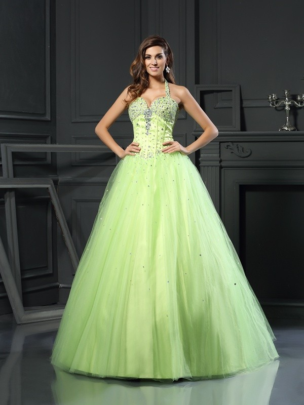 Ball Gown Satin Halter Sleeveless Floor-Length With Beading Quinceanera Dresses