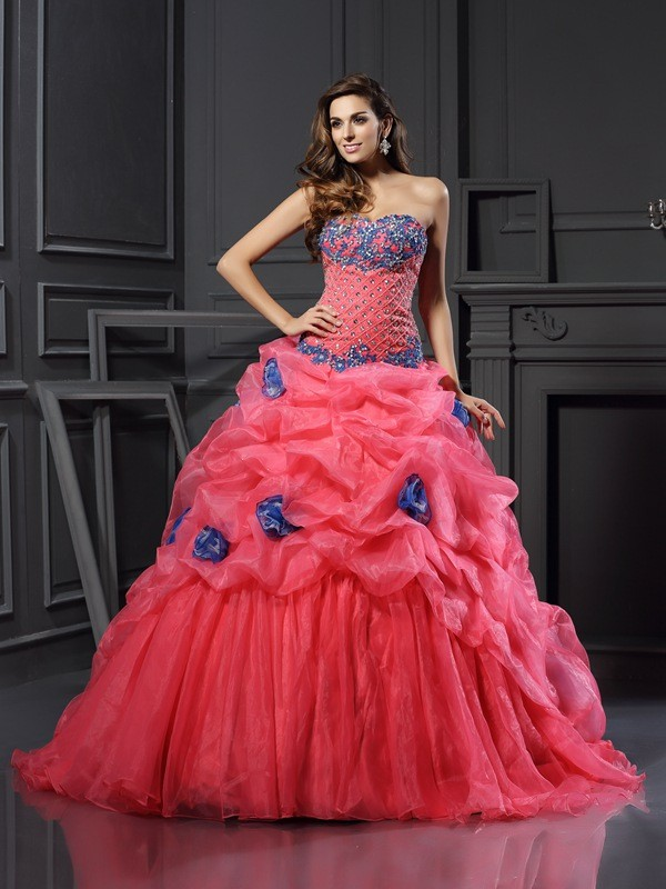 Ball Gown Organza Sweetheart Sleeveless Chapel Train With Beading Quinceanera Dresses