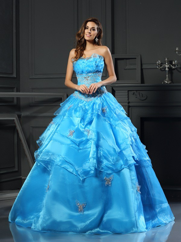 Ball Gown Organza Sweetheart Sleeveless Floor-Length With Beading Quinceanera Dresses