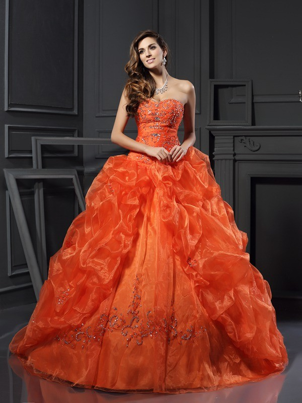Ball Gown Organza Sweetheart Sleeveless Court Train With Beading Quinceanera Dresses