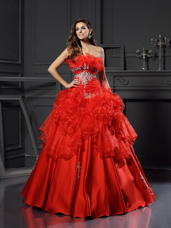 Ball Gown Organza Strapless Sleeveless Floor-Length With Ruffles Quinceanera Dresses