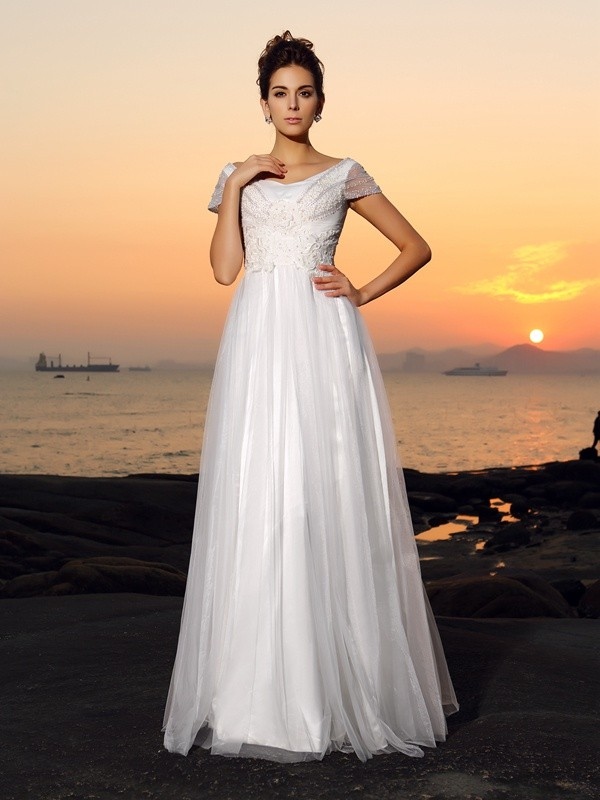 A-Line Tulle Off-the-Shoulder Short Sleeves Floor-Length With Beading Wedding Dresses