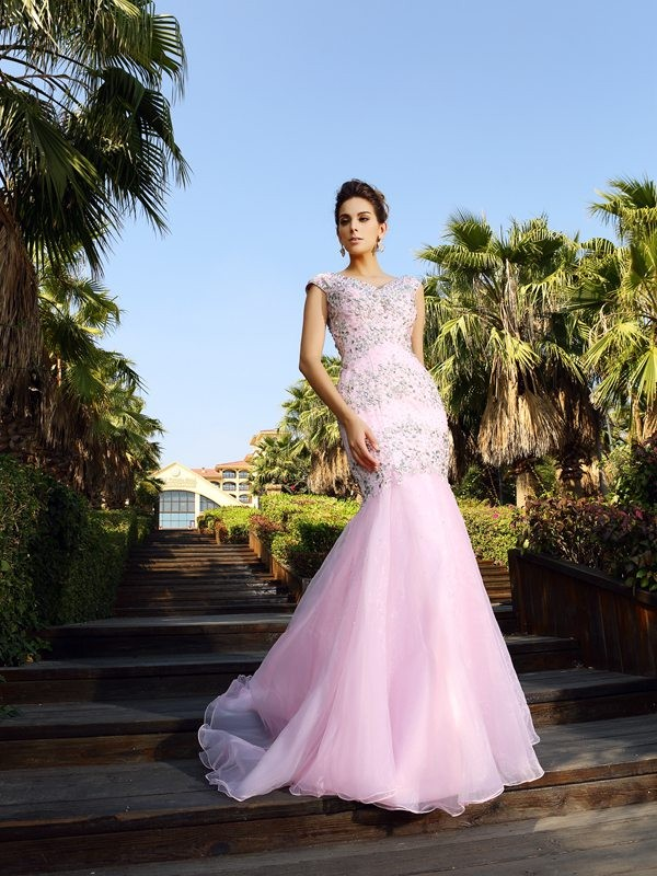Mermaid Satin V-neck Sleeveless Court Train With Beading Dresses