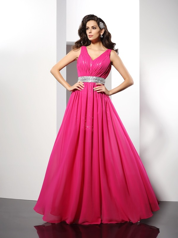 A-Line Chiffon V-neck Sleeveless Floor-Length With Paillette Dresses