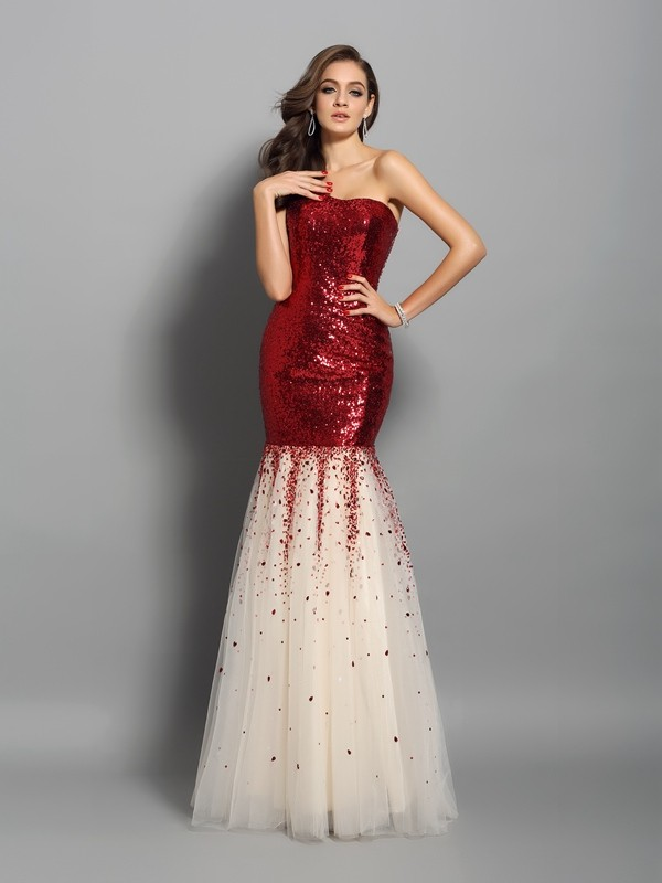 Mermaid Sequins One-Shoulder Sleeveless Floor-Length With Ruffles Dresses