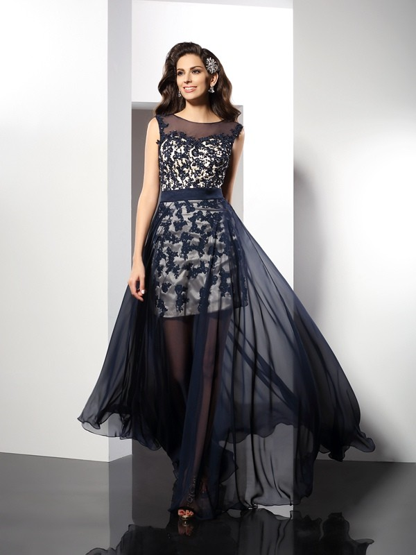 A-Line Elastic Woven Satin Scoop Sleeveless Floor-Length With Lace Dresses