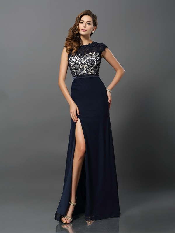 Sheath Chiffon Jewel Short Sleeves Floor-Length With Lace Dresses