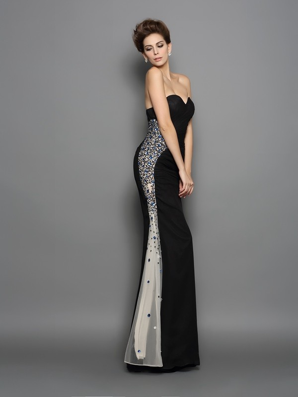 Mermaid Chiffon Sweetheart Sleeveless Floor-Length With Ruched Dresses