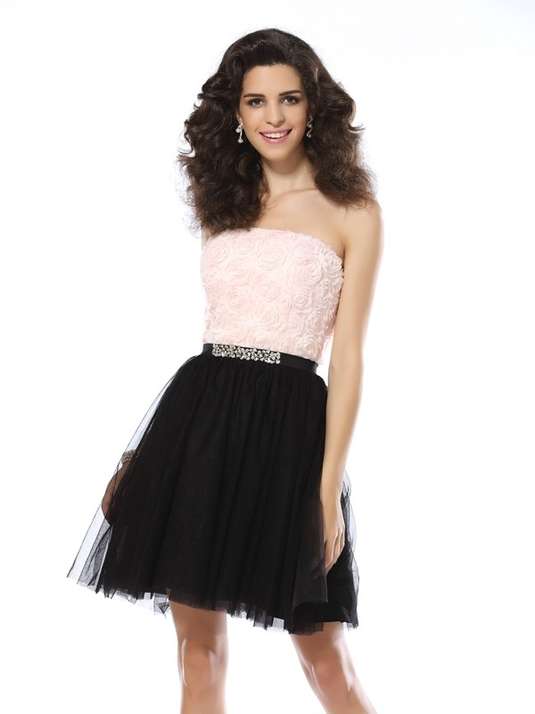 A-Line Tulle Strapless Sleeveless Short/Mini With Beading Dresses