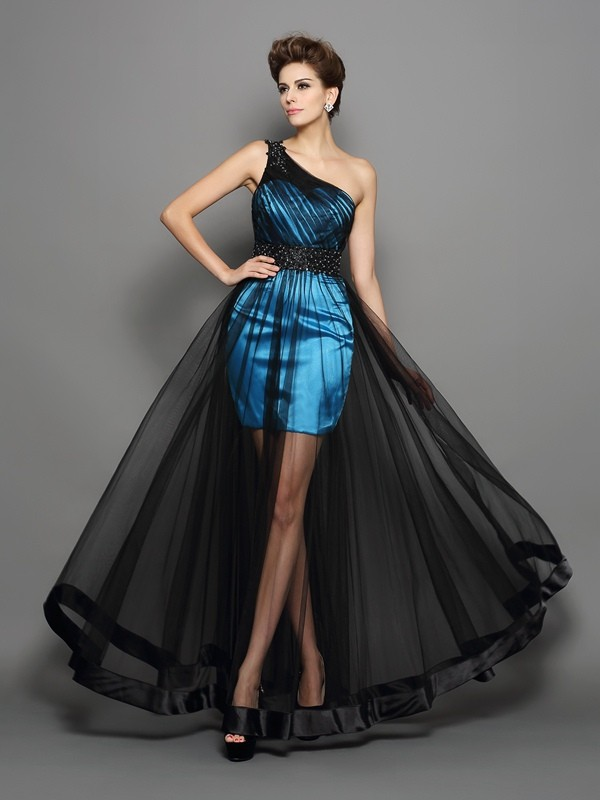A-Line Elastic Woven Satin One-Shoulder Sleeveless Floor-Length With Ruched Dresses