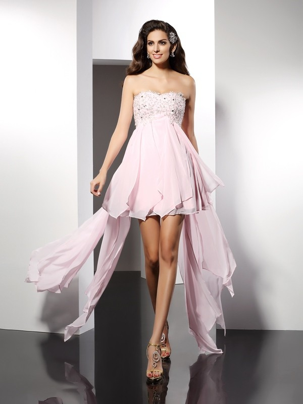 A-Line Chiffon Sweetheart Sleeveless Asymmetrical With Applique Dresses