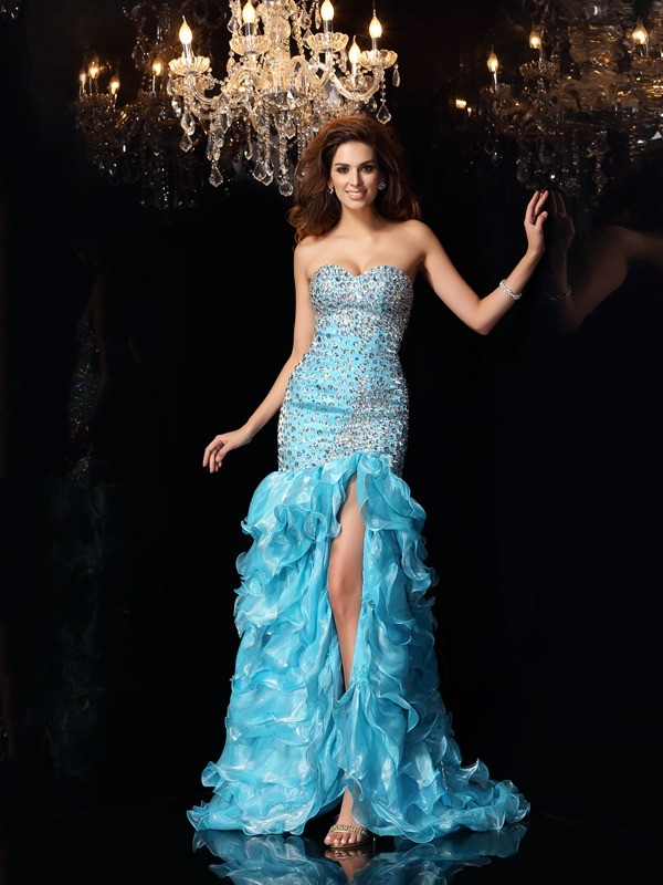 Mermaid Organza Sweetheart Sleeveless Asymmetrical With Beading Dresses