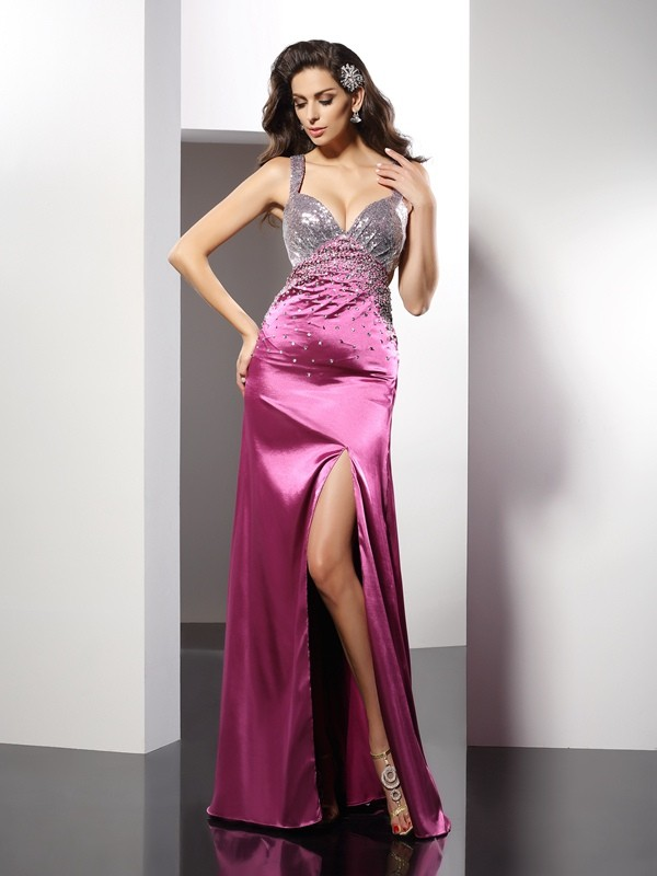 A-Line Elastic Woven Satin Straps Sleeveless Floor-Length With Beading Dresses