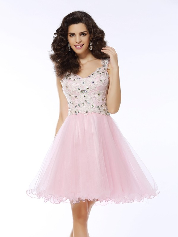 A-Line Satin Sweetheart Sleeveless Short/Mini With Applique Dresses