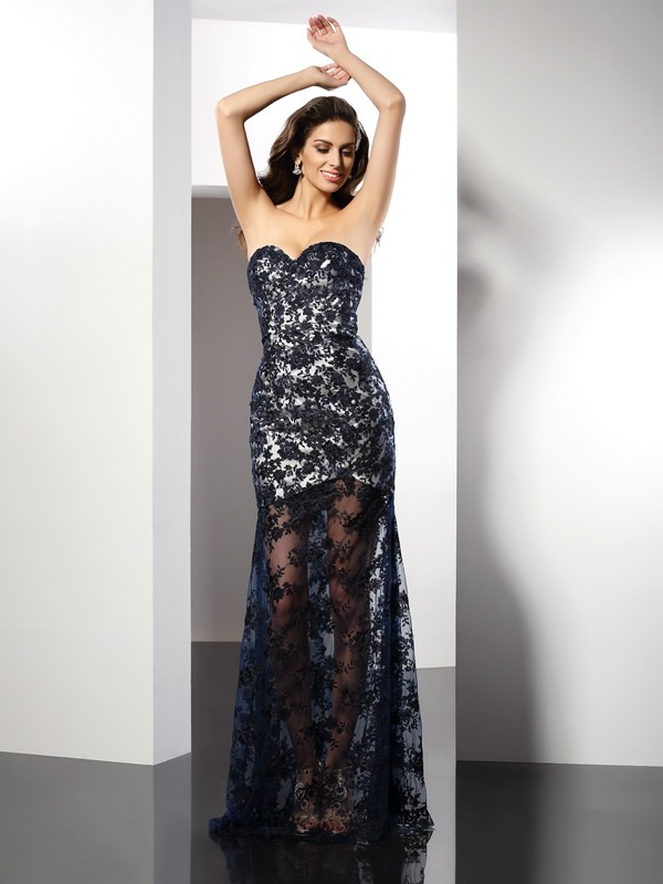 Sheath Satin Sweetheart Sleeveless Floor-Length With Lace Dresses