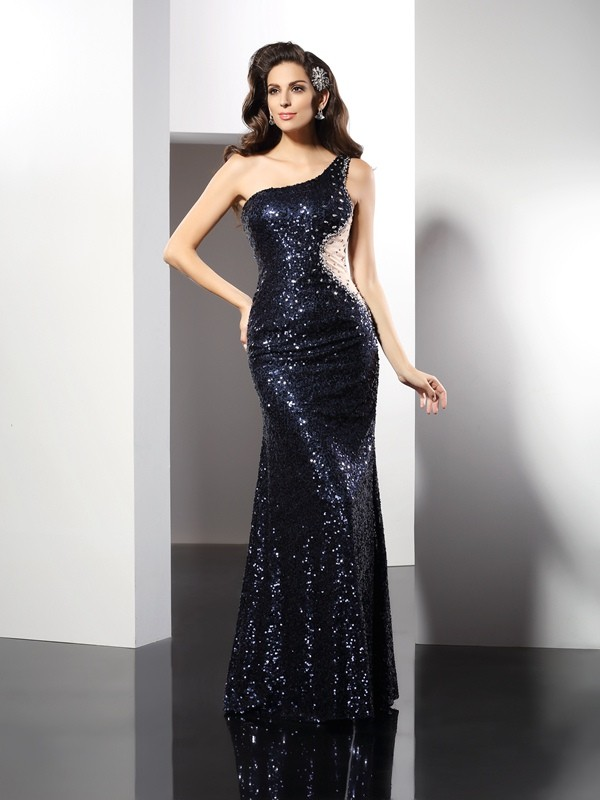 Sheath Sequins One-Shoulder Sleeveless Floor-Length With Sequin Dresses