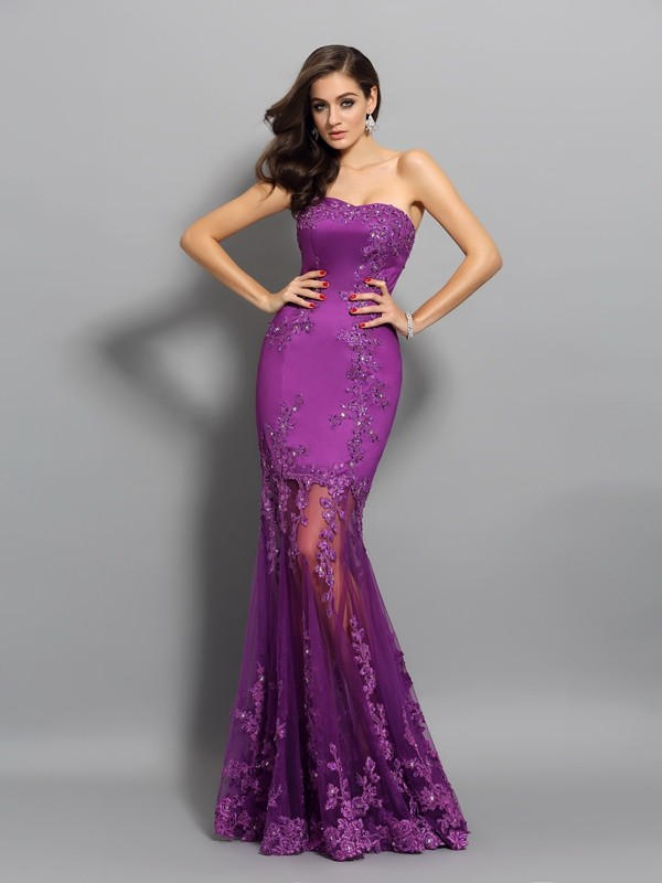 Mermaid Chiffon Sweetheart Sleeveless Floor-Length With Beading Dresses