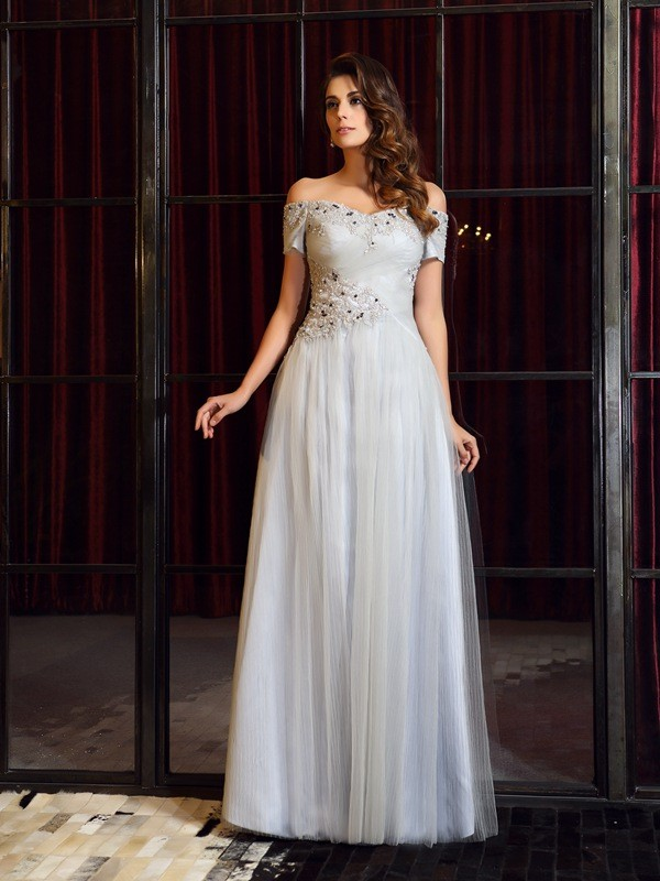A-Line Net Off-the-Shoulder Sleeveless Floor-Length With Beading Dresses