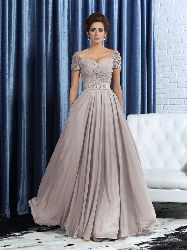 A-Line Chiffon Sweetheart Short Sleeves Ankle-Length With Beading Mother of the Bride Dresses