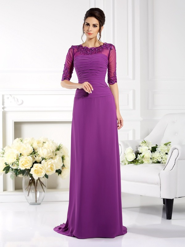 Sheath Chiffon Scoop 1/2 Sleeves Sweep/Brush Train With Applique Mother of the Bride Dresses