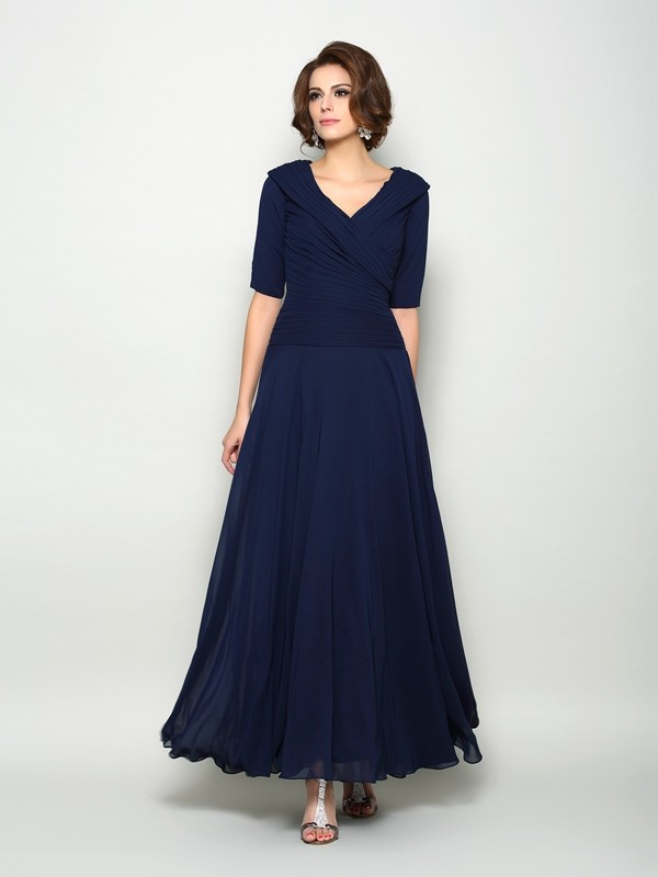 A-Line Chiffon V-neck 1/2 Sleeves Ankle-Length With Ruffles Mother of the Bride Dresses