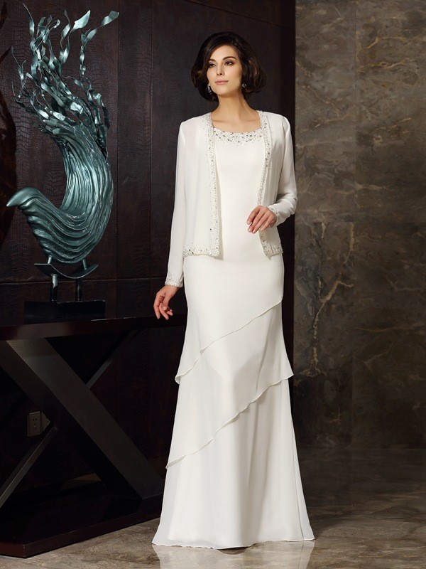 Sheath Chiffon Scoop Sleeveless Floor-Length With Beading Mother of the Bride Dresses