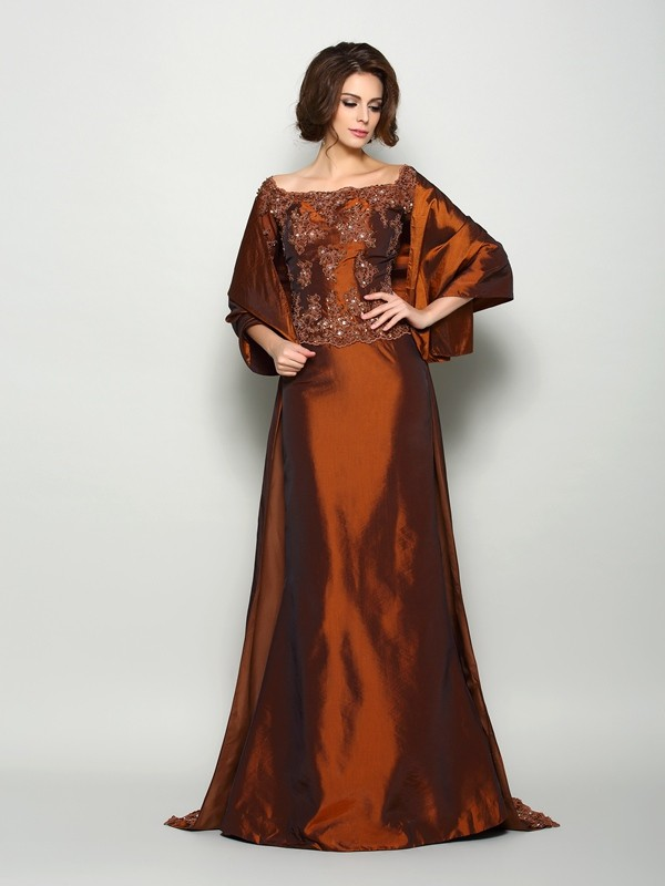 A-Line Taffeta Off-the-Shoulder 1/2 Sleeves Sweep/Brush Train With Beading Mother of the Bride Dresses