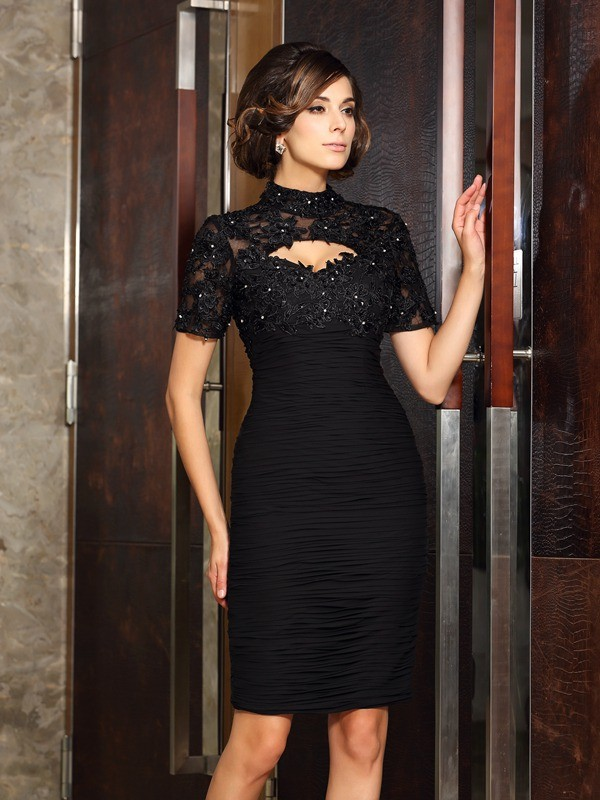 ec8a93e2beb Sheath Chiffon High Neck Short Sleeves Knee-Length With Beading Mother of  the Bride Dresses