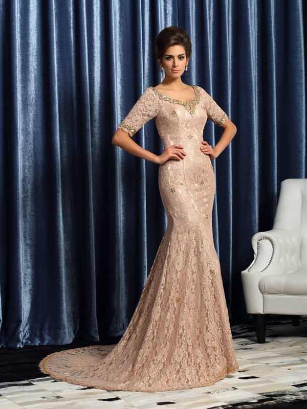 Mermaid Elastic Woven Satin V-neck 1/2 Sleeves Court Train With Lace Mother of the Bride Dresses