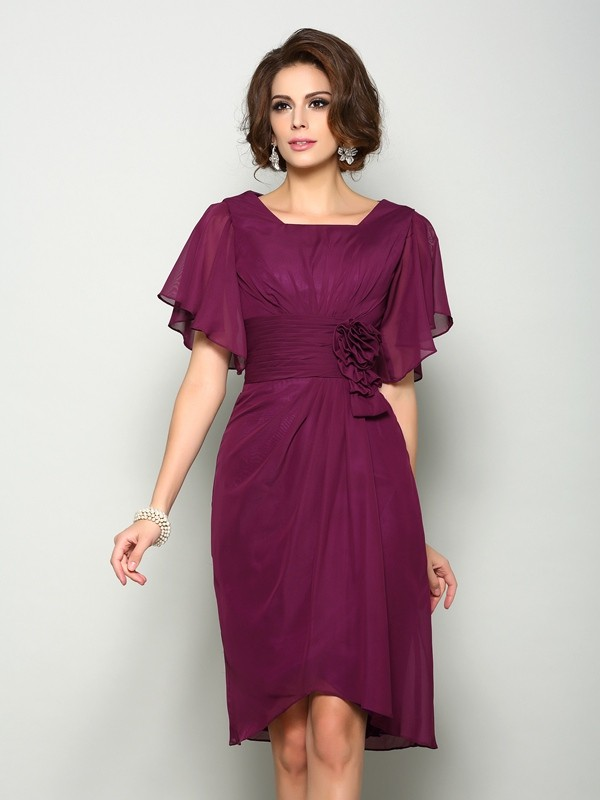 A-Line Chiffon Square Short Sleeves Knee-Length With Hand-Made Flower Mother of the Bride Dresses