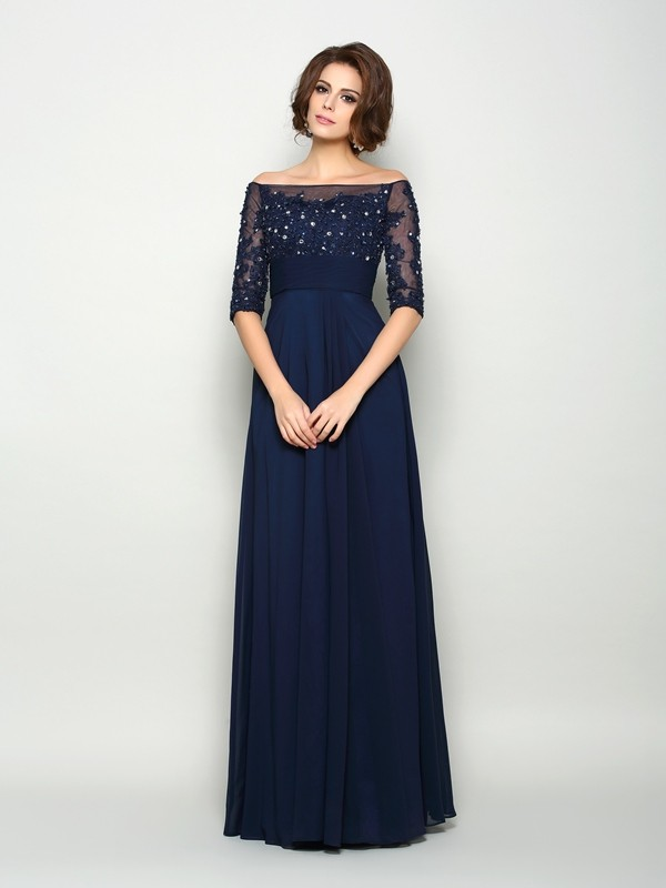 A-Line Chiffon Off-the-Shoulder 1/2 Sleeves Floor-Length With Beading Mother of the Bride Dresses