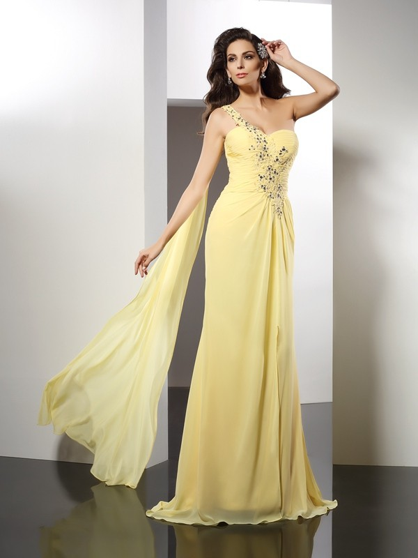 A-Line Chiffon One-Shoulder Sleeveless Floor-Length With Beading Dresses
