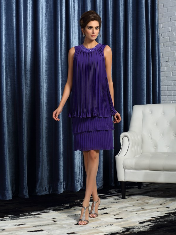 A-Line Chiffon Jewel Sleeveless Knee-Length With Pleats Mother of the Bride Dresses