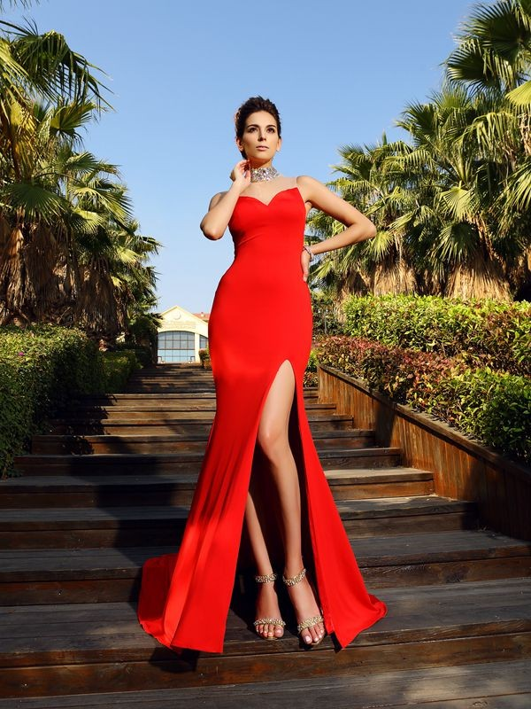Sheath Spandex High Neck Sleeveless Court Train With Beading Dresses