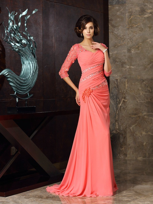 Mermaid Chiffon Sweetheart 1/2 Sleeves Sweep/Brush Train With Beading Mother of the Bride Dresses