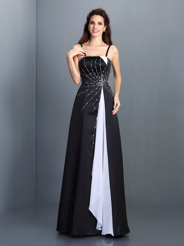 A-Line Chiffon Spaghetti Straps Sleeveless Floor-Length With Ruffles Dresses